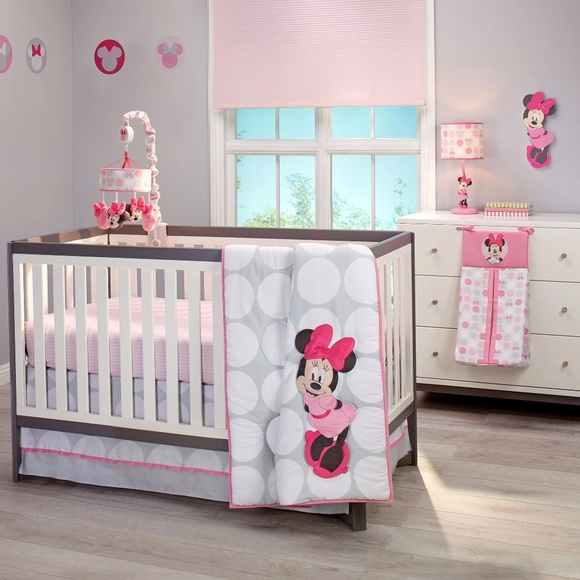 Minnie Mouse Polka Dots 4 Piece Crib Bedding Set